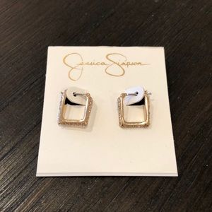 Jessica Simpson Square Gold Earrings
